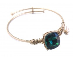 Emerald Square Stone Wire Wrap Hook Wire Bracelet