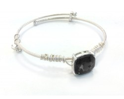 Black Diamond Square Stone Wire Wrap Wire Silver Bracelet