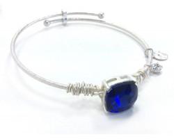 Blue Sapphire Square Stone Wire Wrap Wire Silver Bracelet