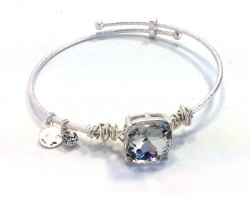 Clear Square Stone Wire Wrap Wire Silver Bracelet