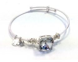 Clear Square Stone Wire Wrap Wire Silver Bracelet