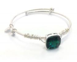 Green Emerald Square Stone Wire Wrap Wire Silver Bracelet