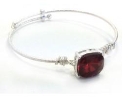 Red Siam Square Stone Wire Wrap Wire Silver Bracelet