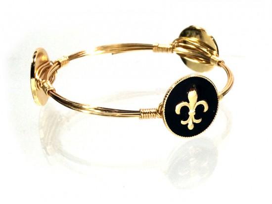 Black Gold Fleur de Lis Charm Wire Wrap Bracelet