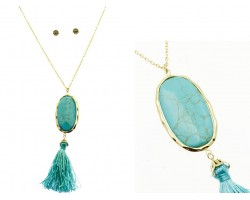 Turquoise Oval Stone Gold Bezel Tassel Necklace Set