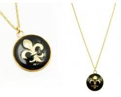 Black Gold Fleur de Lis Charm Necklace