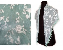 Mint White Embroidery Flowers Scarf