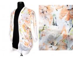 Peach Floral Lace Bottom Hem Cardigan