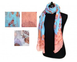 Assorted Shells Sea Life Oblong Scarf 6pk