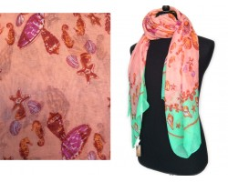 Pink Shells Sea Life Peridot Border Oblong Scarf