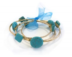 Turquoise Stone Gold Wire Wrap Bangle 3pcs