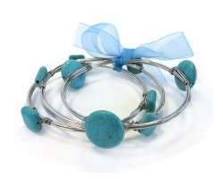 Turquoise Stone Silver Wire Wrap Bangle 3pcs
