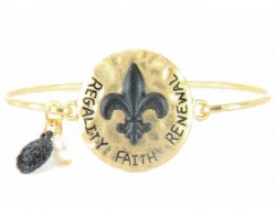 Gold Hammer Black Fleur de Lis Hook Bangle