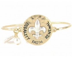 Gold Hammer Silver Fleur de Lis Hook Bangle