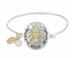Silver Hammer Gold Fleur de Lis Hook Bangle