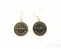 Antique Gold Plate Water Meter Hook Earrings 22mm