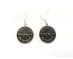 Antique Silver Plate Water Meter Hook Earrings 22mm