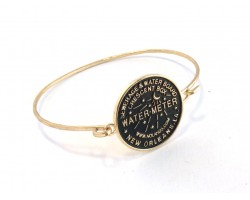 Gold Water Meter Bangle Bracelet Hook Clasp