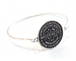 Silver Water Meter Bangle Bracelet Hook Clasp