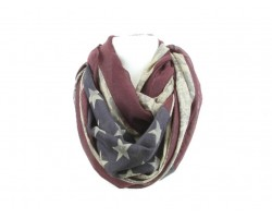 Antique Red White Blue USA Flag Infinity Scarf