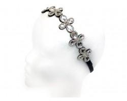 Clear Crystal 4-Leaf Daisy Stretch Head Band