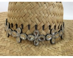 Clear Crystal 4-Leaf Daisy Stretch Hat Band
