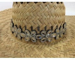 Clear Crystal 5 Point Flower Stretch Hat Band
