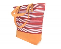 Red White Stripe Tote Bag