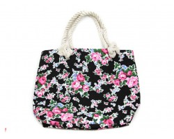 Black Cloth Bag Pink Roses Tote Bag