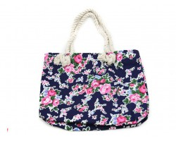 Navy Cloth Bag Pink Roses Tote Bag
