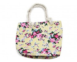Yellow Cloth Bag Pink Roses Tote Bag