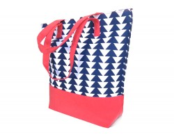Blue White Triangle Pattern Tote Bag