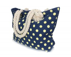 Navy Yellow Polka Dots Tote Bag