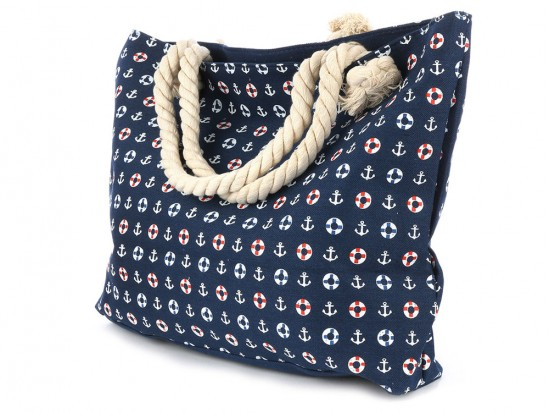 Navy White Small Anchors Tote Bag