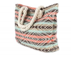Brown Peach Strip Tribal Pattern Tote Bag