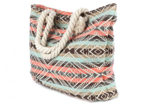 Brown Peach Strip Tribal Pattern Tote Bag
