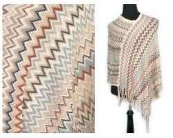 Champagne Brown Blue Chevron Knit Poncho