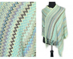 MInt Brown Blue Chevron Knit Poncho