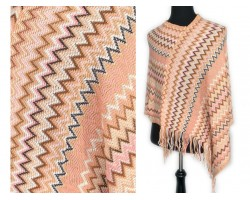 Peach Brown Blue Chevron Knit Poncho