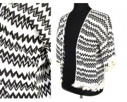 Black White Chevron Fringed Poncho