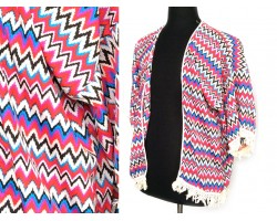 Multi Pink Blue Yellow White Chevron Fringed Poncho