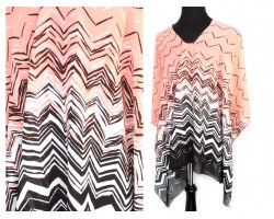 Light Pink Gray Shades Chevron Poncho