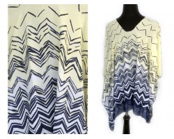 Yellow Gray White Shades Chevron Poncho