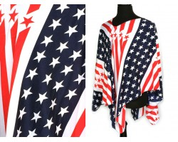 Red White Blue USA Stars Stripes Angled Poncho