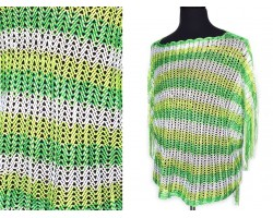 Green Peridot White Striped Knit Fringed Poncho