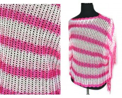 Pink Hot Pink Striped Knit Fringed Poncho