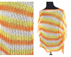Orange Yellow White Striped Knit Fringed Poncho