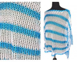 Turquoise Teal White Striped Knit Fringed Poncho