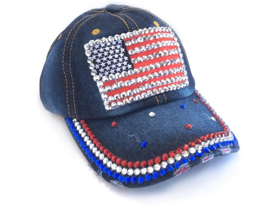 USA Flag Crystals Dark Blue Denim Cap
