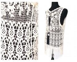Ivory Crochet Lace Vest